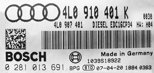 Plug & Play Bosch Engine ECU, Audi Q7 3.0 TDI, 0281013691, 0 281 013 691, 4L0910401K, 4L0 910 401 K,  EDC16CP
