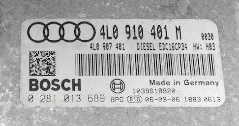 Plug & Play Engine Bosch ECU, Audi Q7 3 0 TDI, 0281013689, 0 281 013 689,  4L0910401M, 4L0 910 401 M, EDC16CP