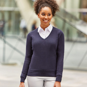V-Neck Knitted Sweater - LADIES