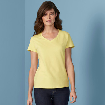 Premium Cotton V-Neck T-Shirt - LADIES