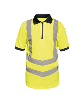 Hi-Vis Pro Contrast Wicking Piqué Polo Shirt