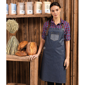 Division Waxed-Look Denim Bib Apron