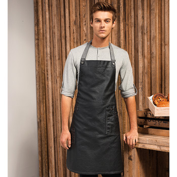District Waxed-Look Denim Bib Apron