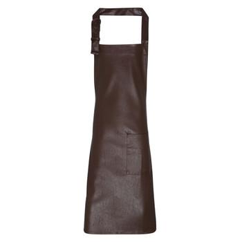 Faux Leather Bib Apron
