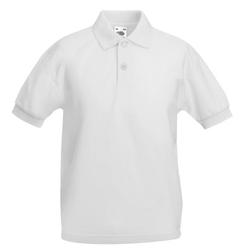 Plain School Polo - White Kids