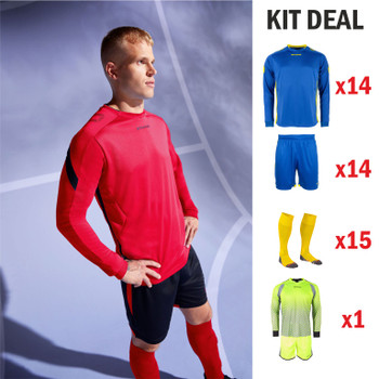 Drive L/Sleeve Football Kit - YOUTH - 14 x Outfield, 1 x Keeper