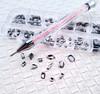 120PCS BLACK DIAMOND BLING BOX of Fancy Shapes Glass Flatback Rhinestones for Nail Art + Optional 50% Off Crystal Pick-Up Wax Pen