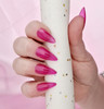 NEW Full Nail Cover Medium Stiletto Oval Cusp Press On Soft Gel Nail Tips - PINK TRANSPARENT (Bag of 504PCS)