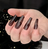 NEW Full Nail Cover Coffin Press On Soft Gel Nail Tips - BLACK JELLY TIPS (Transparent Nail Tips)