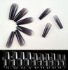 NEW Full Nail Cover Coffin Press On Soft Gel Nail Tips - BLACK JELLY
