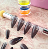 NEW Full Nail Cover Medium Stiletto Oval Cusp Press On Soft Gel Nail Tips - BLACK GLASS TIPS