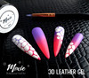 White Moxie 3D Coloured Leather on Ombre Nails