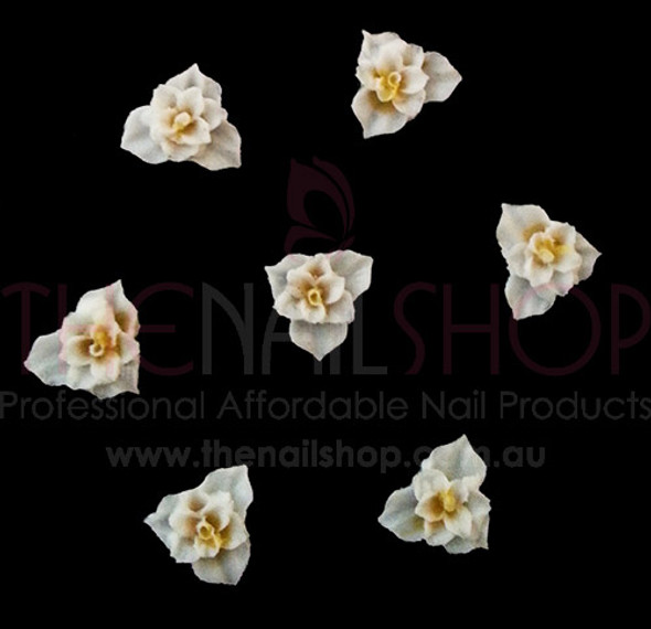 3D Flexible Flowers for Nail Art (20PCS) - White & Yellow Open Flower