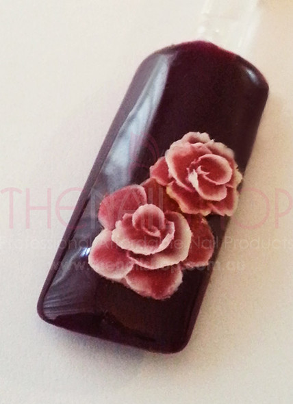 3D Flexible Flowers for Nail Art (20PCS) - Red & White Large Rose