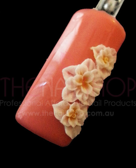 3D Flexible Flowers for Nail Art (20PCS) - White & Yellow Petal