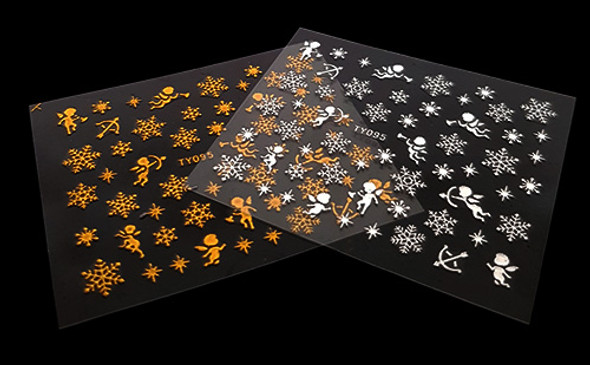 3D Xmas Snow Flake & Angel/Cherub Nail Art Stickers (Gold or Silver)