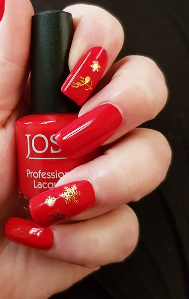3D Gold Snow Flake & Angel/Cherub Nail Art Stickers on JOSS Red Polish