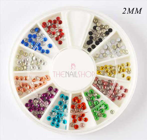 TNS Round Metal Beads Studs Nail Art Wheel 240PCS (12 Metallic Colours) (2MM)