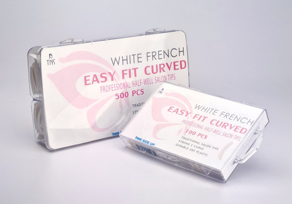 TNS Easy Fit French White Half-Well Nail Tips (Box of 100PCS or 500PCS)