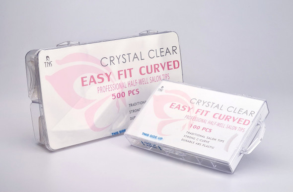 TNS Easy Fit Crystal Clear Half-Well Nail Tips (Box of 100PCS or 500PCS)