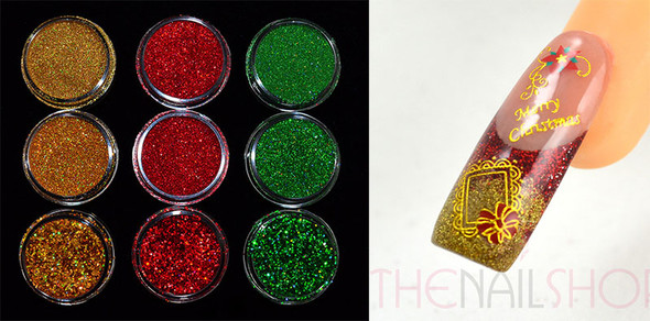 Christmas Nail Glitter in Gold, Red & Green