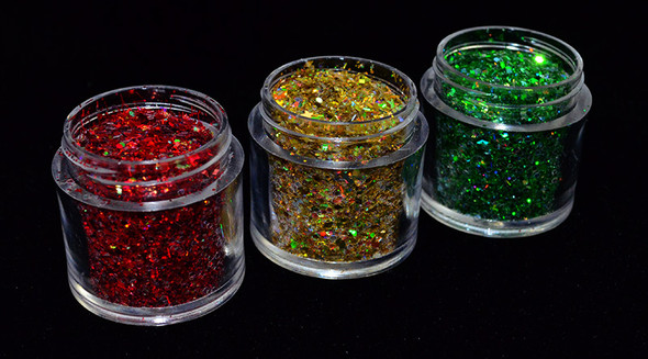 Red, Gold & Green Glitter for Nail Art