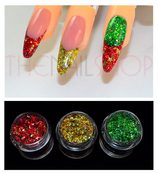 Christmas Nails - Red, Gold & Green Glitter