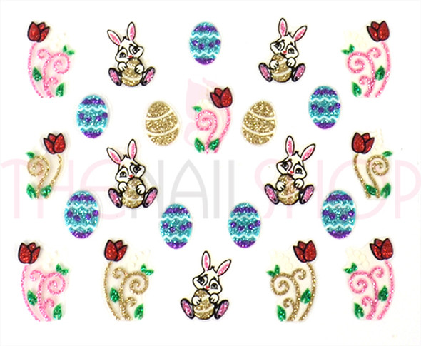 3D Easter Coloured Glitter Nail Sticker Collection - Set No. #3 (Rabbits, Eggs & Tulips)