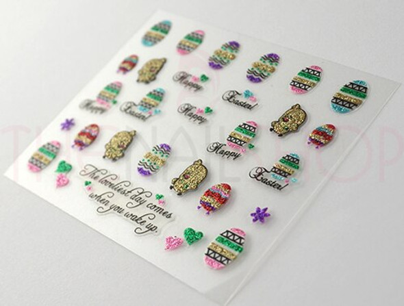 Easter Coloured Glitter Nail Sticker Collection - Set No. #4 (Chickens, Eggs & Easter Greetings)