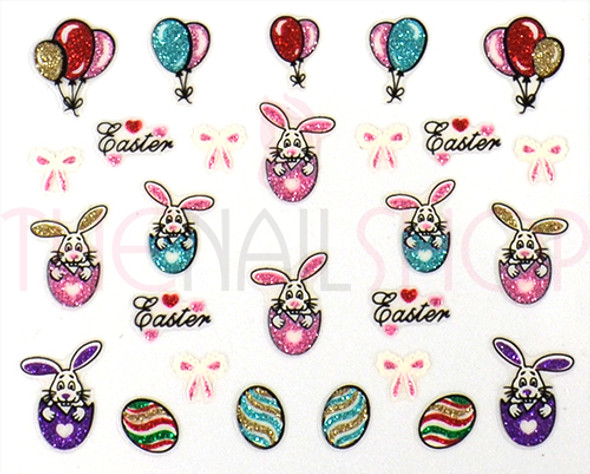 3D Easter Coloured Glitter Nail Sticker Collection - Set No. #5 (Bunnies in Eggs, Bows & Balloons)