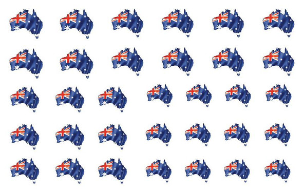 Australian Flags in the Shape of Australia Nail Decals (33 Images Per Sheet)