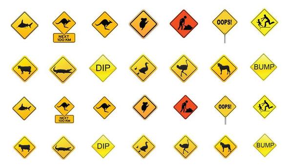 Australian Novelty Road Sign Nail Decals (28 Images Per Sheet)