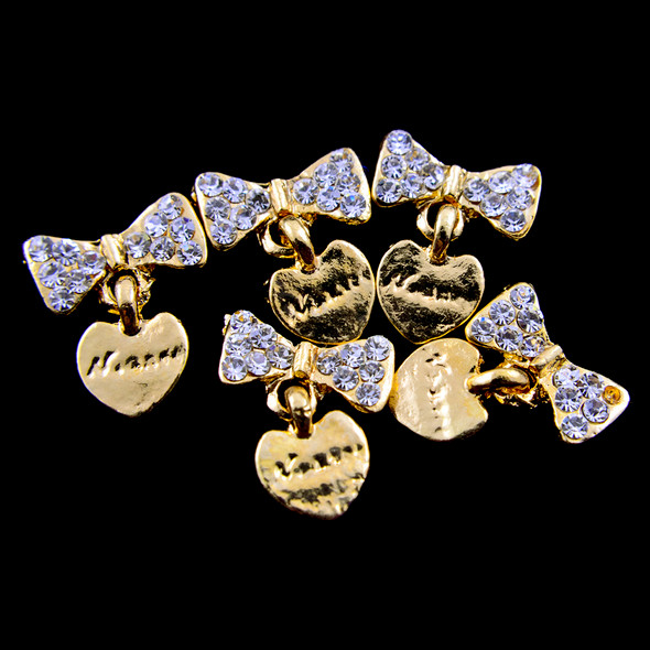 TNS Professional Nail Art Charms - Gold Heart & Bow Charms (Pack of 5PCS)