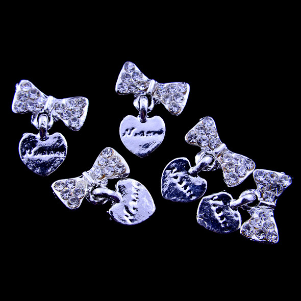 TNS Professional Nail Art Charms - Silver Heart & Bow Charms (Pack of 5PCS)