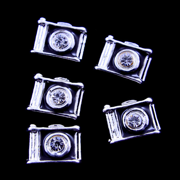 TNS Professional Nail Art Charms - Silver & Black Cameras (Pack of 5PCS)