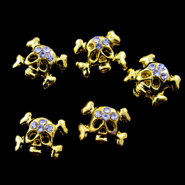 TNS Professional Nail Art Charms - Gold & Crystal Skull & Crossbones (Pack of 5PCS)
