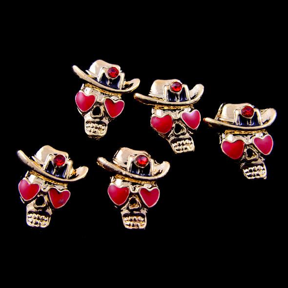 Gold Love Struck Cowboy Skull Nail Charms (Pack of 5PCS)