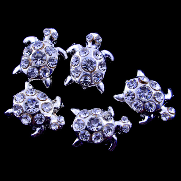 Turtle Silver & Crystal Nail Art Charms (Pack of 5)