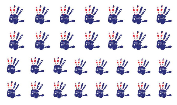 Australian Flag Hand Print Nail Water Decals (30 Images Per Sheet)