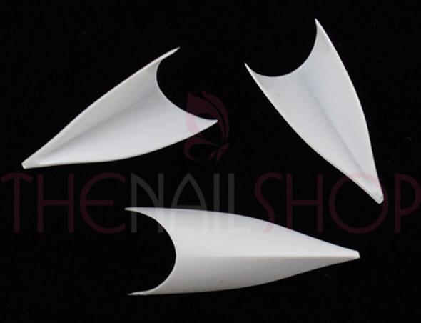 White Leaf Nail Tips (Stiletto/Edge Combo) - Box 120 Pcs