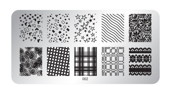 Pamper Plates Professional Nail Stamping Plates - Design #2 (Tartan, Plaid, Stars, Lace, Waves, Geometric Patterns)