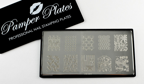 Pamper Plates Professional Nail Stamping Plates - Design #4 (Stars, Star Fish, Feathers, Flowers & Swirls)
