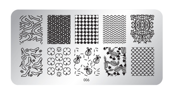 Pamper Plates Professional Nail Stamping Plates - Design #6 Mermaid Scales, Ladybugs, Shoes, Clovers, Zig Zags, Geometric Patterns & More!)