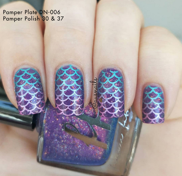 Example of Pamper Plates Professional Nail Stamping Plates - Design #6 (Mermaid Scales, Ladybugs, Shoes, Clovers, Zig Zags, Geometric Patterns & More!)