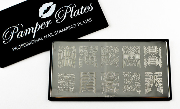 Pamper Plates Professional Nail Stamping Plates - Design #7 (Cultural Symbols, American Indian Style Designs )