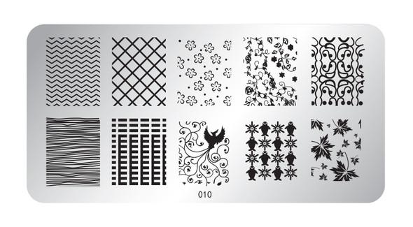 Pamper Plates Professional Nail Stamping Plates - Design #10 (Autumn Leaves, Penguins, Dove, Vines & Geometrics)