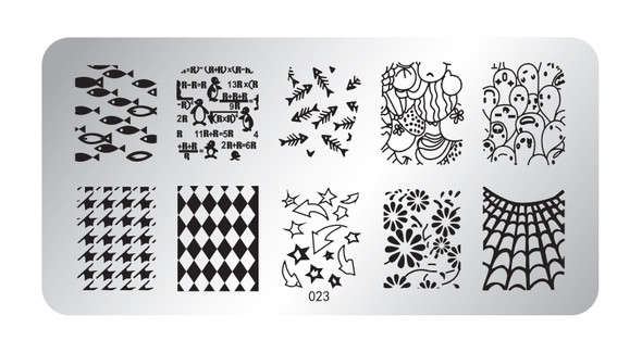 Pamper Plates Professional Nail Stamping Plates - Design #23 (Geometric Diamonds, Penguins, Fish, Web, Houndstooth, Arrows & More!)