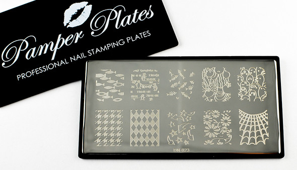 Pamper Plates Professional Nail Stamping Plates - Design #23 (Diamonds, Penguins, Fish, Web, Houndstooth, Arrows & More!)