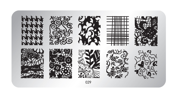 Pamper Plates Professional Nail Stamping Plates - Design #29 (Houndstooth Pattern & Floral Lace)