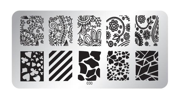 Pamper Plates Professional Nail Stamping Plates - Design #30 (Shattered Glass, Lines & Floral Mendala Designs)